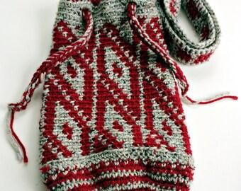 Diamond Design Bag, Crochet Wool Blend Drawstring Bag