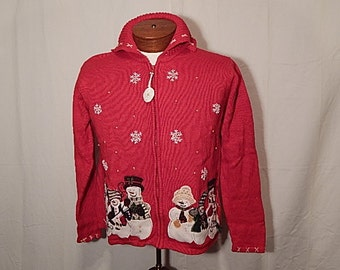 SALE 50% Off UGLY CHRISTMAS SWEATEr M Medium Snowman Dance with Snowflakes