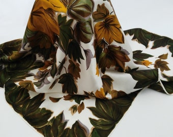 Vintage Leaves Scarf, Gold Green Rich Falling Leaves Design, Gift  Her Lady Woman, Festival Fashion