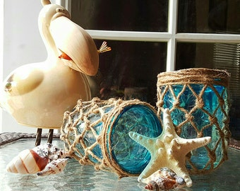 Ocean Blue, Turquoise and Jute Net Wrapped Summer Mason Jars