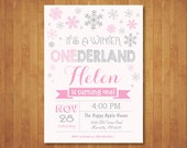 Winter Onederland Invitation. Boy or Girl 1st First Winter Birthday. Snowflakes. Pink, Blue. White and Gray. Printable Digital.