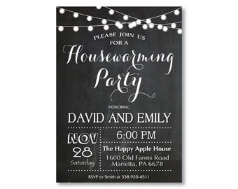 Housewarming Party Invitation. Chalkboard Housewarming. String Lights. Black and White. New House Moving. Printable Digital.
