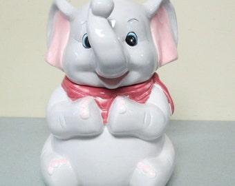 Vintage Gray & Pink Elephant Ceramic Cookie Jar