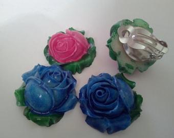 Beautiful Resin Flower Earrings Two Colors