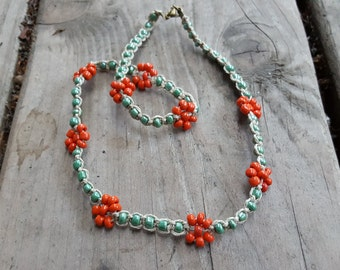 California Poppy Hemp Choker - Glass Bead Flower Necklace - Orange Flower Beaded Hemp Necklace, Hemp choker, Beaded Flower Choker