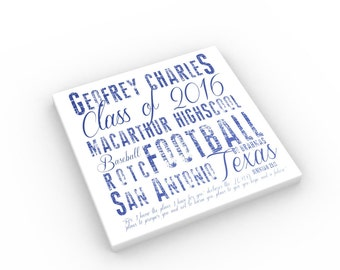 Jeremiah 29:11 Personalized Graduate Canvas; gift for highschool graduation; Personalized Graduation Word Art; Scriptures for graduate