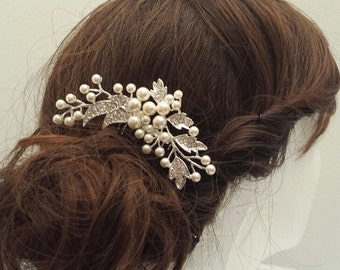 CLEARANCE - Hair Comb, Pearl Rhinestone Hair Comb, Bridal Comb, Wedding Hairpiece (C19)