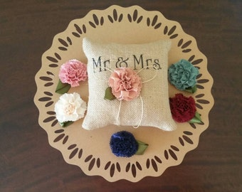 Mr & Mrs Burlap Vintage Shabby Chic Wedding Ring Bearers Pillow with Ribbon Flower Decorative Embellishment. Choice of Flower Colour.