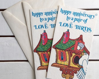 Vintage 60's Anniversary Card / Love Birds Greeting Card Unused