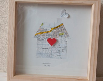 Couple Wedding Home frame using Recycled Map Paper Wedding/Anniversary Gift