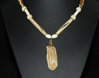 FT007 Bone and Petrified Wood Pendant Necklace