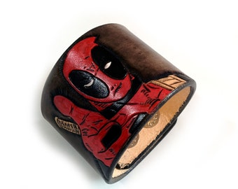 Black And Red Leather Deadpool Cuff