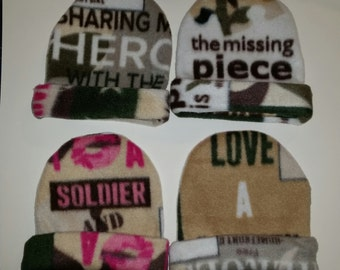 Military hats, baby hats, military personnel, military support