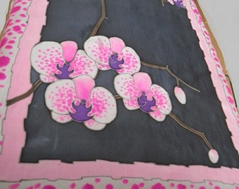 10% OFF! Orchids Silk scarf hand painted. Pure Silk ponge 5. Batik scarf. Birthday gift. Gift for her.