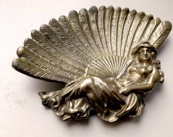 Vintage Art Nouveau Brass Dish With Fan & Woman