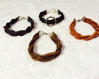 Leather Lace Braided Boho Bracelet