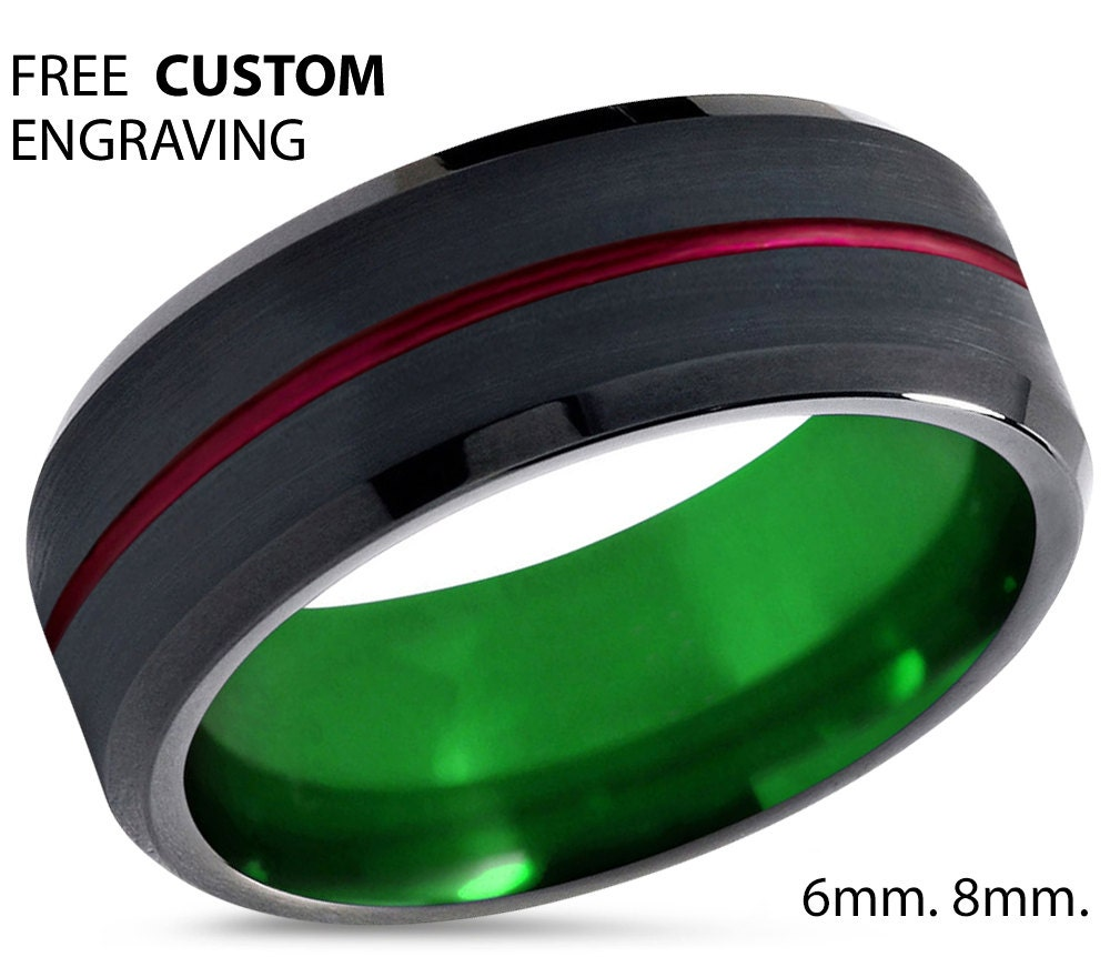 Tungsten Ring Mens Red Black Green Wedding Band By