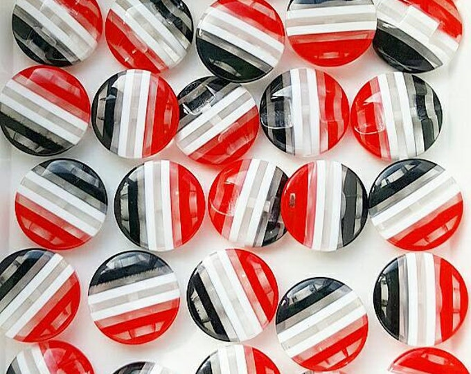 Pack of 30, Red, white and black resin buttons, 18mm, shank buttons,  craft scrapbooking,  button craft,  sewing buttons