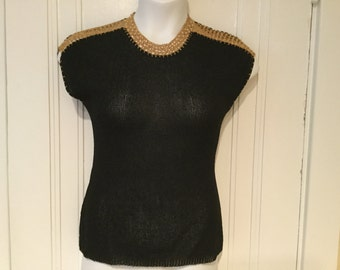 Vintage 1940s BOUCLE Black knit BOMBSHELL SPIDERWEB Cage Sweater Top.