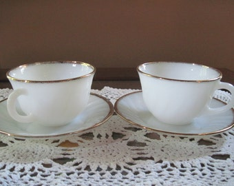 Fire King Golden Anniversary Tea Cups and Saucers - Item #1315