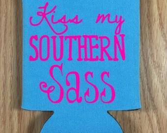Kiss my Southern Sass!! Kozie - Monogram - Glitter - Cozies
