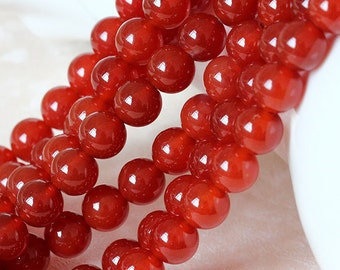 B7 Carnelian Beads, Natural Red Carnelian Semi Precious Stone Beads, Smooth Round 4 5 6 8 10 12 14 16 18 20mm Full Strand