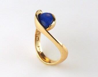Gold Lapis Ring - Lapis Lazuli Ring - Gold and Blue