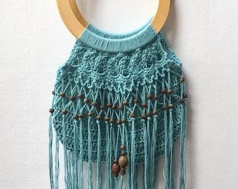 Turquoise crochet, handbag. Beaded macrame fringe and wooden handle. Tote bag. Carry all. Crochet handbag. Crochet beach bag. Hippie bag.