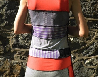 Abstract Punk Patchwork Stripy Dress in Monochrome, Purple and Red  Size S - M