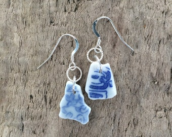 Sterling Silver Blue Sea Beach Pottery Shard Drop Dangle Earrings