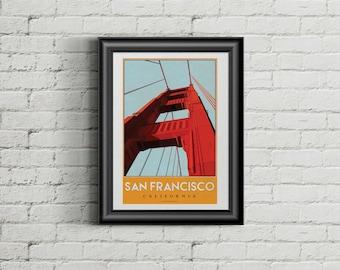Retro San Francisco Poster - Golden Gate Bridge