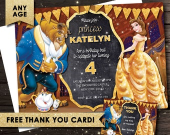 Beauty and the Beast invitation, Belle Invitation, Princess Birthday Invitation, Belle birthday, Beauty and the beast party,Chalkboard,chalk