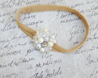 Girls pearl nylon headband