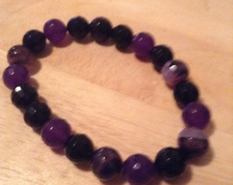 Purple Faceated Fire Agate Beaded Bracelet