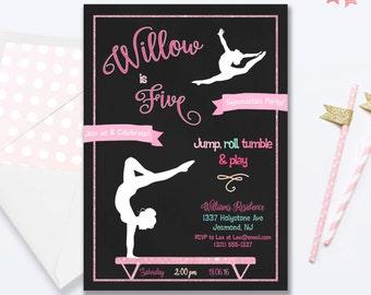 Gymnastics Party Birthday Invitation - Gymnastics Invitation - Gymnastics Invite - Gymnastics Party Birthday Invite