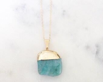 Isla Gold Plated Aquamarine Pendant