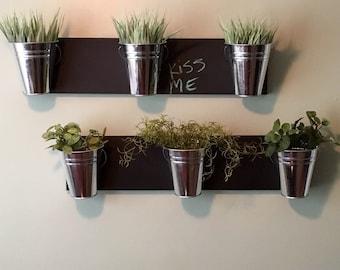 Indoor Wall Planter horizontal mount (one row of 3 pots)