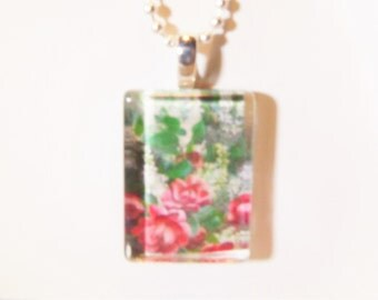 Glass Silver Pendant Roses
