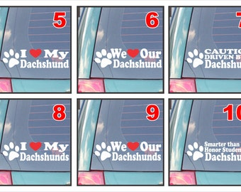 Dachshund dog dogs live love bark proud happiness hug co-pilot rescue smarter funny assorted decal sticker