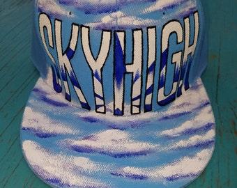 Hand painted Hat Skyhigh custom graffiti cap
