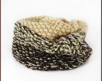 Hand knitted scarf - Winter scarf kids - Merino wool scarf - Toddler snood - Thick scarf - Boys scarf - Girls scarf - Yellow brown scarf