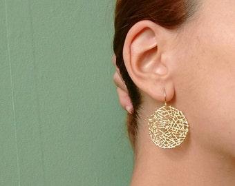 16k gold plated mesh circle boho earrings