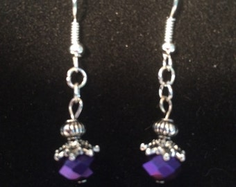 Dark purple dangle earrings