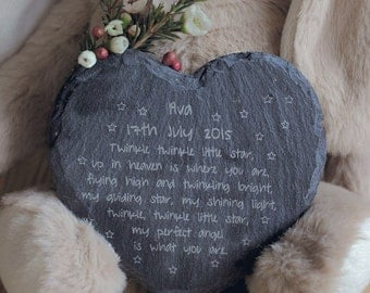 Angel baby Memorial slate plaque indoor or outdoor use. Any wording you want