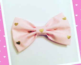 Pink and Gold hearts hair bow