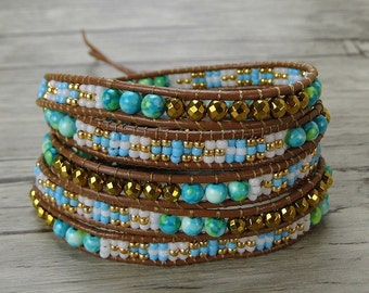 Gypsy bead wrap bracelet blue wrap bracelet seed bead bracelet yoga leather wrap bracelet bead leather bracelet beadwork jewelry SL-0394