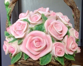 The Rose Music Box Ceramic Resin Basket of  Roses Large vintage (price reduced)