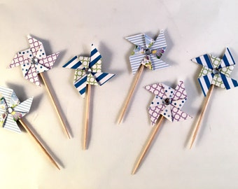 Pinwheel Cupcake Toppers/Cupcake Toppers/Party Decorations/Birthday Decor/Party Supplies