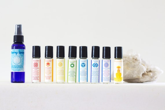 Chakra Roll-On Complete Set with Smudge Spray for Meditation, with Bonus Transcendence Scent