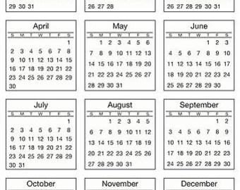 Mini calendar | Etsy